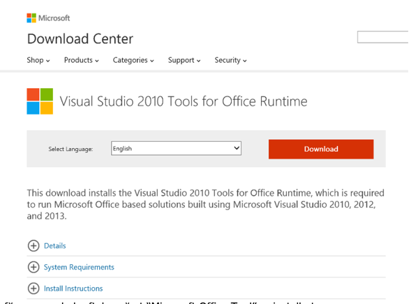 Visual Studios 2010 Tools for Office Runtime download