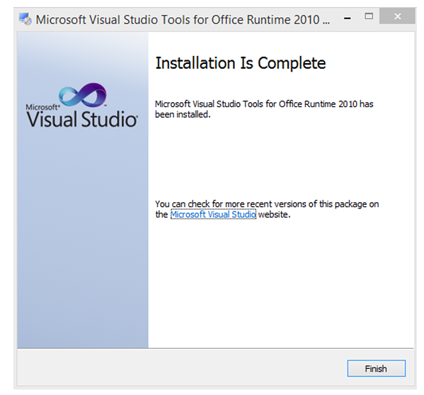 Visual Studios Installation is complete