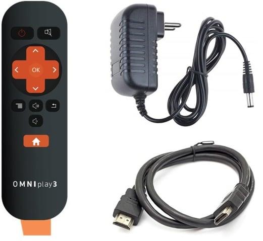 OMNIplay3 fjernkontroll strømadapter hdmi kabel tilbehør-1