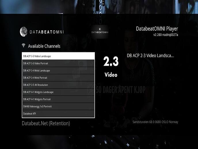 Available channels DatabeatOMNI player