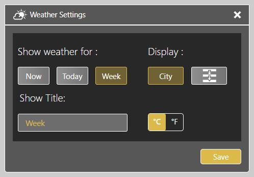 Weather Settings Widget