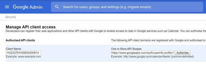 Google Admin API client access