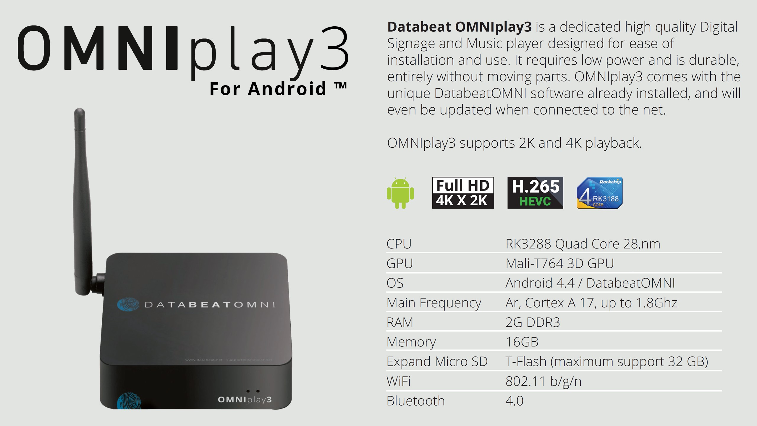 Databeat OMNIplay3 Key features Specifications Infomation