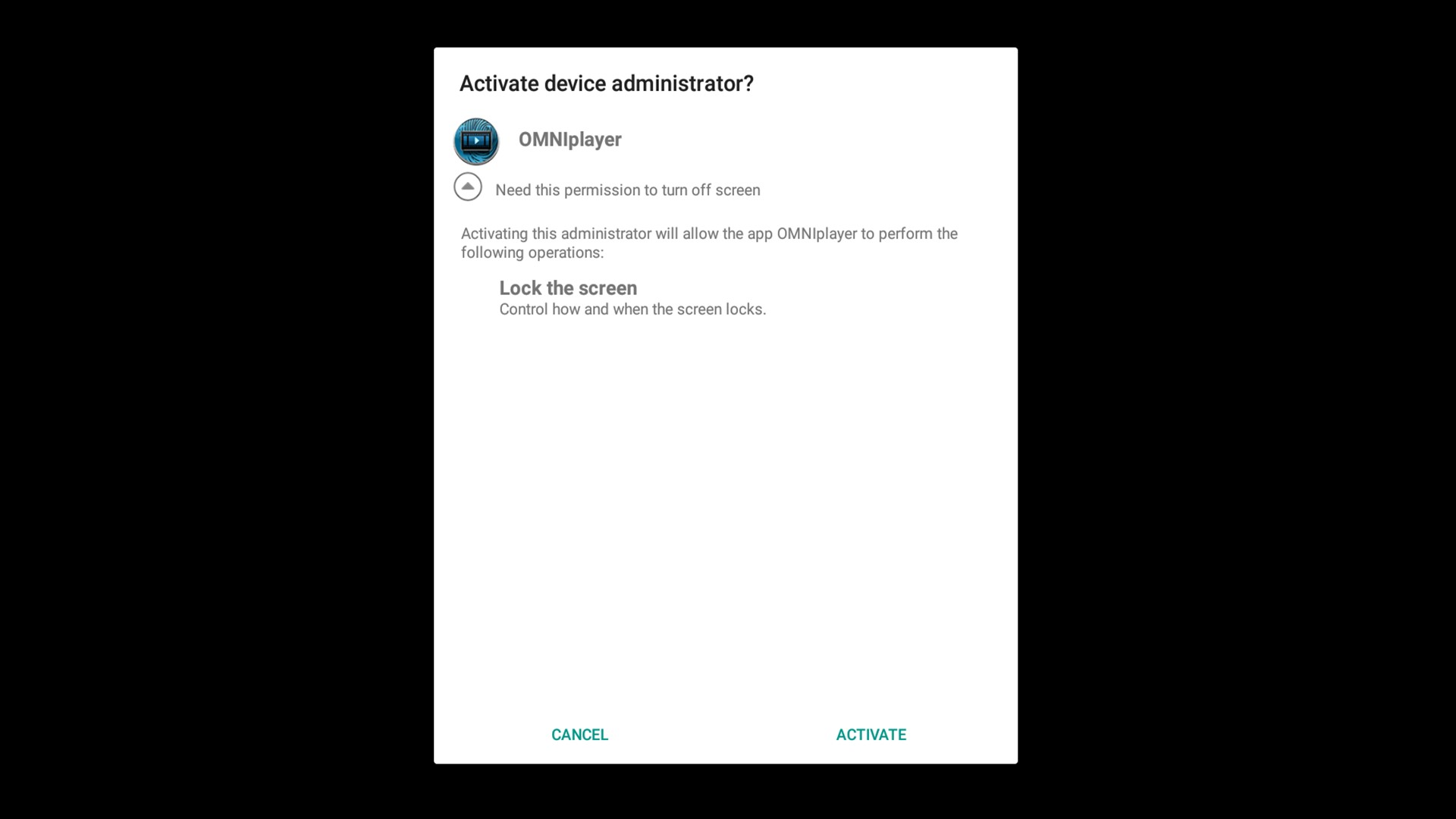 Databeat OMNIplay3 Activate Device Administrator