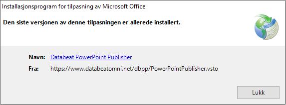 Installasjonsprogram Databeat PowerPoint Publisher