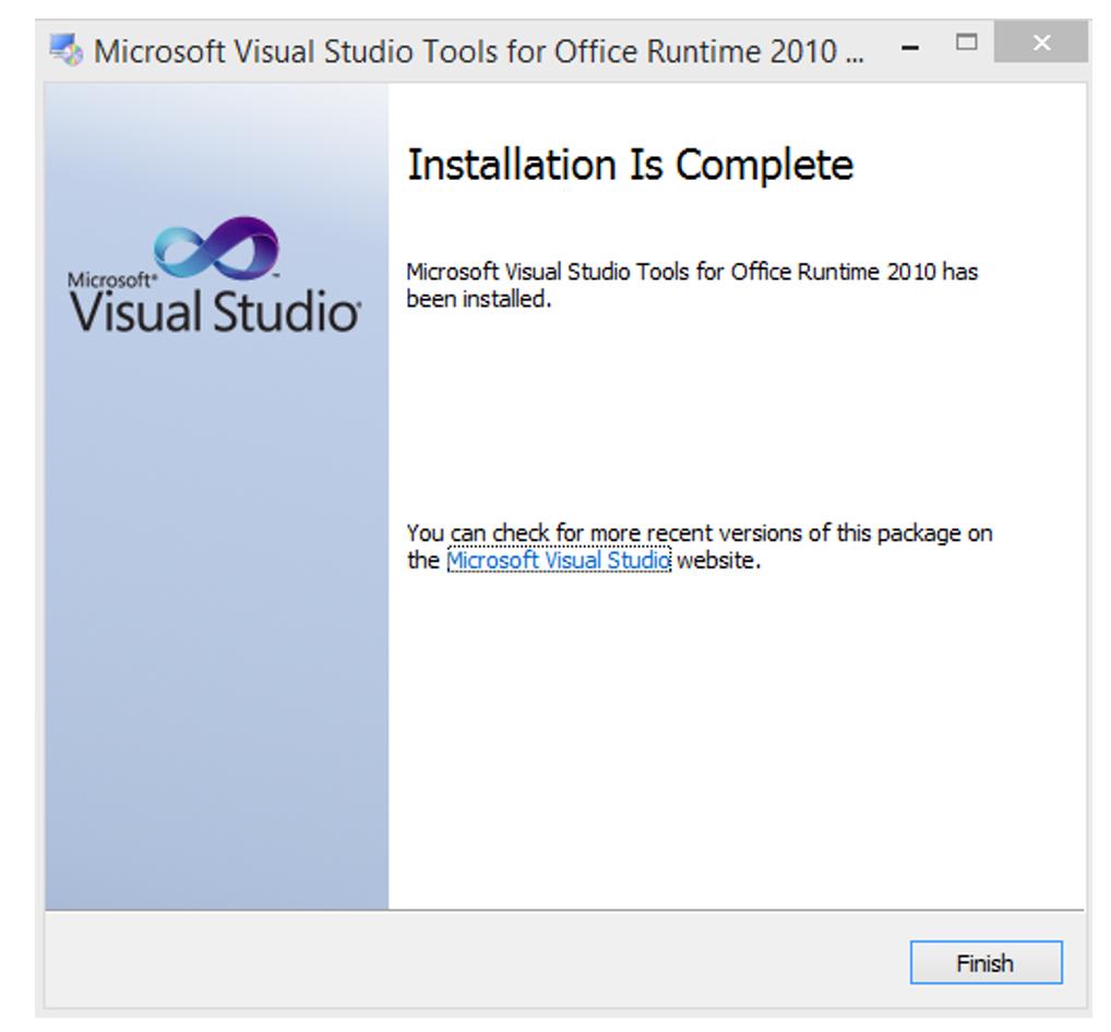 Visual Studios Installation is complete