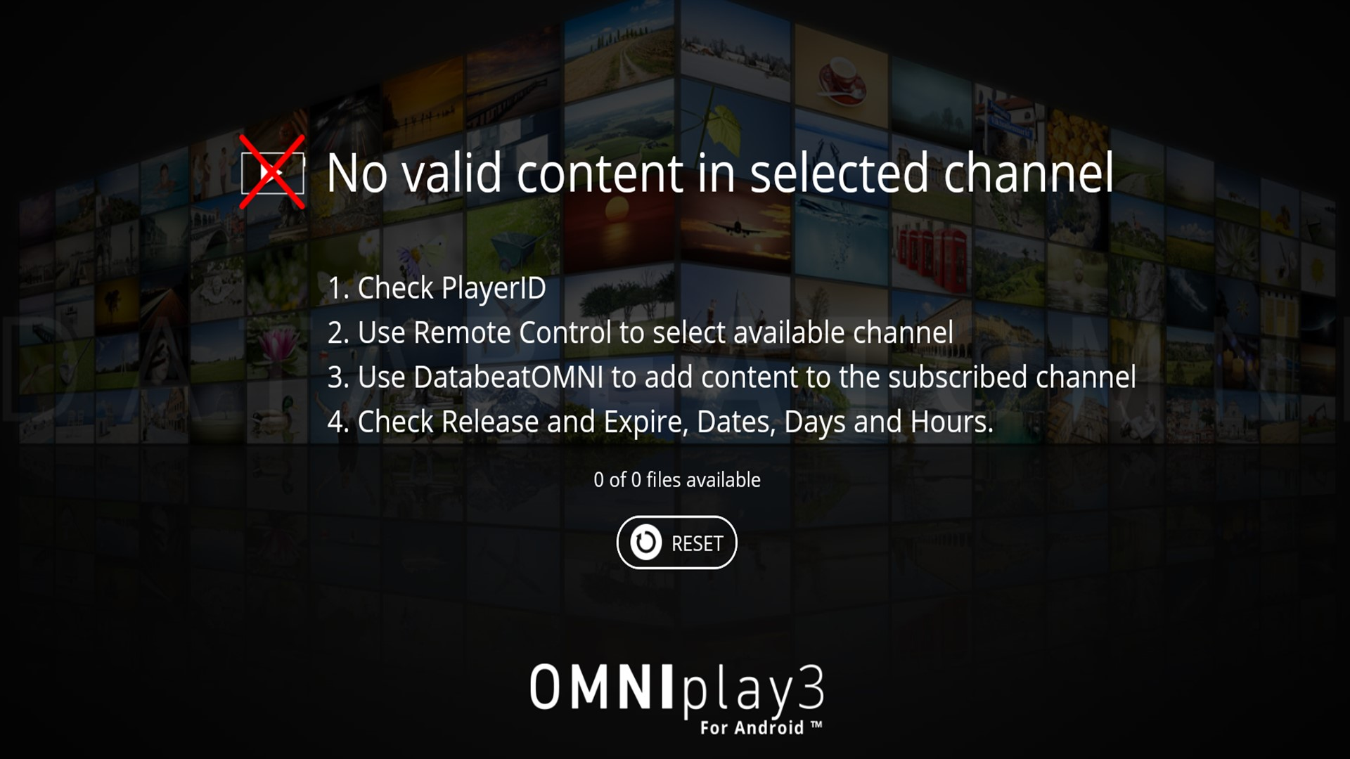 No valid content in selected channel