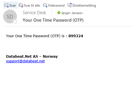 one time password email