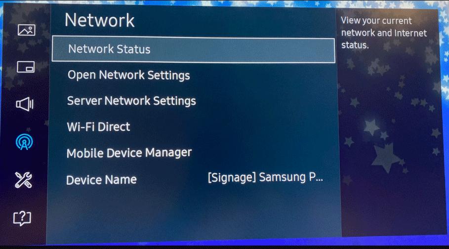 digital signage screenshot network status