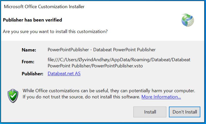 powerpoint publiser setup verified