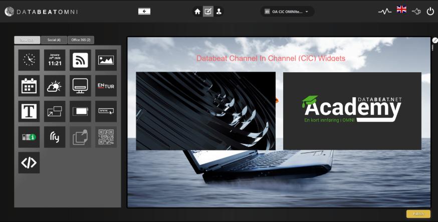 Screendesigner channel in channel view widget