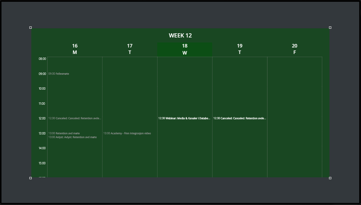 Calendar Widget Preview