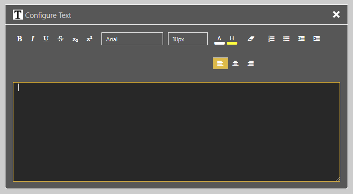 Text Widget Settings